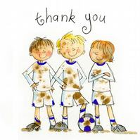 Muddy Boots Boys Football Thank-you Postcards