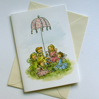 Children's birthday card traditional vintage tea party picnic card pack x5