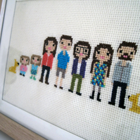 Custom Large Family Pixel Cross Stitch Portrait (Framed)