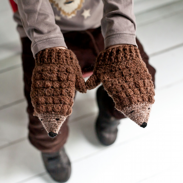 Knitting Pattern Hedgehog Mittens : Crochet Hedgehog Mittens Kit and Crochet Book - Folksy