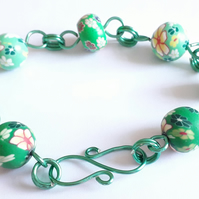 Floral Green Polymer Clay Bead Adjustable Bracelet