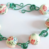 Red Floral Cream Polymer Clay Bead Adjustable Bracelet