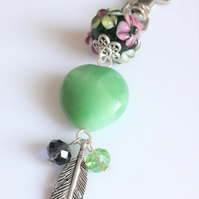 Boho Jade Heart and Floral Glass Lampwork Bead Key Charm with Feather