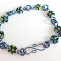 Blue & Yellow Millefiori Flowers in Heart Glass Beads with Contrasting Blue Wire