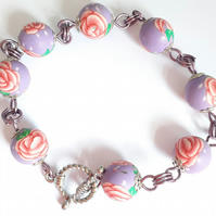Lilac and Pink Rose Polymer Clay Bead Bracelet with Toggle