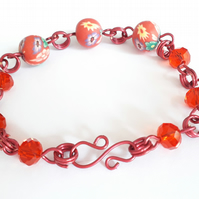 Red Crystal and Floral Polymer Clay Bead Adjustable Bracelet
