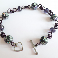 Dark Purple Crystals & Black Rainbow Polymer Clay Bead Bracelet Heart Toggle