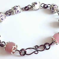 Purple & White Porcelain and Pink Glass Bead Adjustable Bracelet - 9 inches