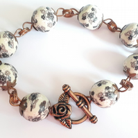 Copper & Cream Floral Polymer Clay Bead Bracelet with Rose Toggle Fastening