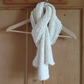Hand knitted cotton and linen mix scarf