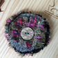 Recycled tweed fabric flower brooch