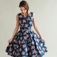 Navy floral 1950's inspired dress