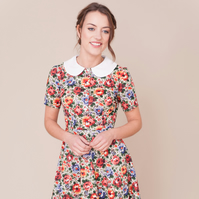 Liberty floral print dress with peter pan collar