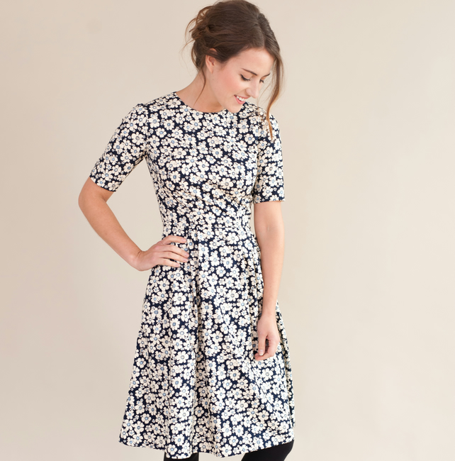 Navy floral dress with pleated skirt