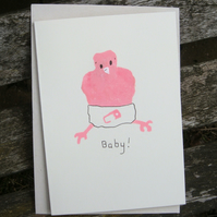 Hand illustrated Baby Card New baby girl pink bird cute Eco recycled