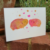 Valentines Card or Wedding Card Guinea Pigs