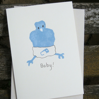 Hand painted new Baby Card bird nappy cute celebration Eco recycled