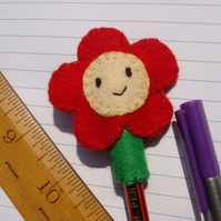 Hand sewn pencil Topper Flower Stationary Teacher Gift back to school