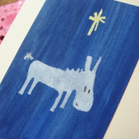 SALE Hand painted Christmas Card Little donkey, blue star, recycled