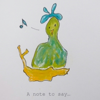 Hand painted card eco-friendly bird in a nest note greeting Thank you