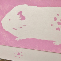 Hand painted Birthday Card Guinea Pig pink Eco-friendly