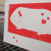 Hand Painted Anniversary Card Guinea Pig Red Heart