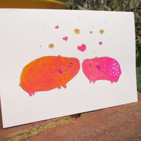 Hand Painted Wedding Card Anniversary Card Guinea Pigs