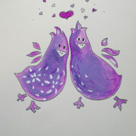 Hand Painted card Wedding Anniversary Card Bird