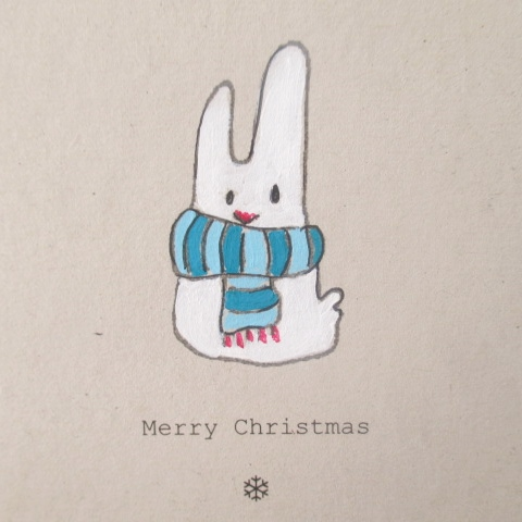 "SALE Hand-painted Christmas card, ""Arctic Alfie"" Arctic Hare, recycled"