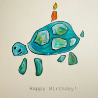 Hand-painted Birthday card Tortoise cake