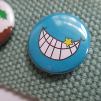 Smile badge Grin Pin Button stocking filler gift back to school
