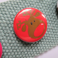 Rudolph red pin badge, Christmas jumper stocking filler children's gift