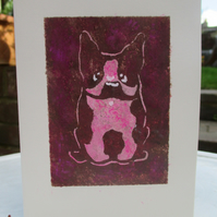SALE Hand painted Birthday Card Bulldog, Recycled Card, Pink Dog lovers greeting