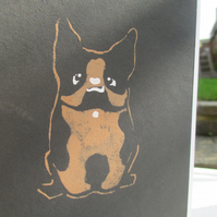 Eco-friendly hand painted card French Bulldog birthday, dog lovers