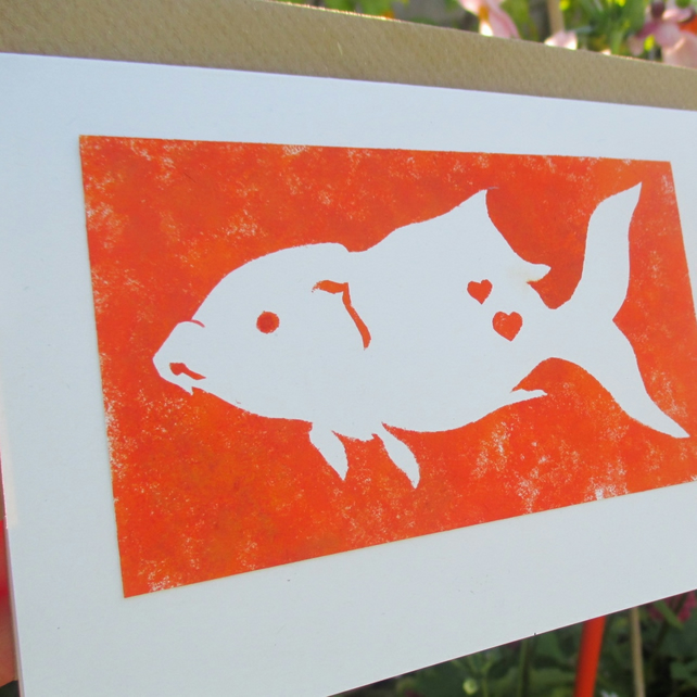Hand painted Fish greetings card eco-friendly pet lover birthday orange goldfish