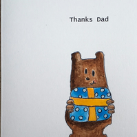 SALE Thanks Dad, Bear Father's Day Card, Eco Handmade Recycled Card Daddy