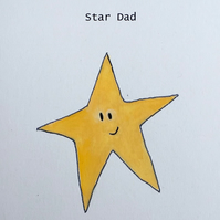 SALE Star Dad Fathers Day Card Handmade Recycled Card Eco Hand painted