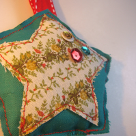 Christmas Tree Decoration hand sewn vintage fabrics
