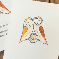 Barn Owl new baby single card. Can personalise handmade recycled card barn owl