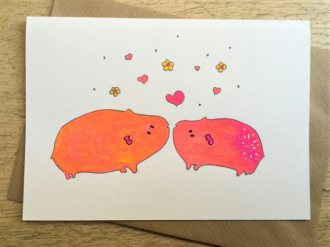 Hand Painted Wedding, Anniversary, Valentines Card Guinea Pig recycled card