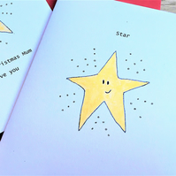 Gold Star Christmas Card Card be personalised. Handmade recycled card