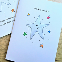 Twinkle Silver Star Christmas Card, Can be personalised. Handmade recycled card