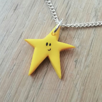 Star pendant necklace, sliver chain, yellow polymer clay star, christmas gift