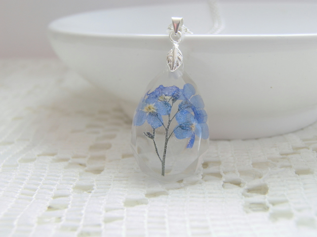 Real Forget Me Not Teardrop Necklace