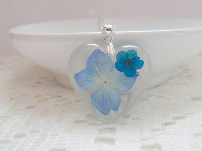 Real Blue Flowers Heart Necklace