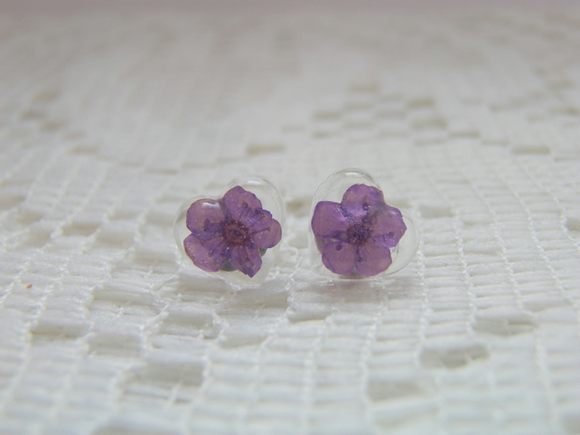 Purple Flower Heart Stud Earrings