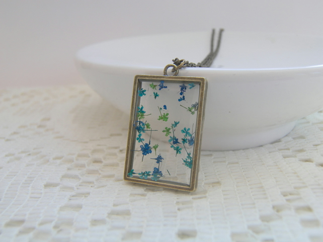 Real Floating Turquoise Flowers Window Necklace