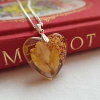 Real Orange Flowers Heart Necklace