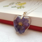 Real Blue Flower Heart Necklace