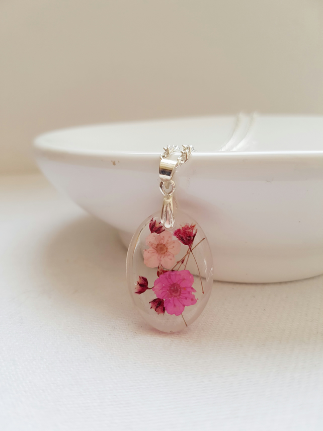 Real Pink Flowers Oval Necklace